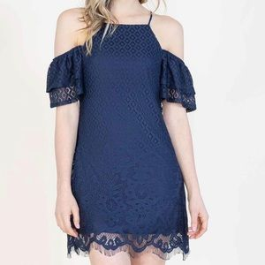Speechless navy blue Giving the Cold Shoulder dres